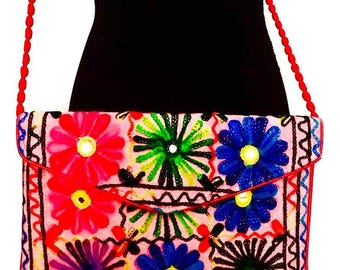 Women handmade handcrafted indian vintage floral mirror embroidered cotton pink crossbody shoulder bag.