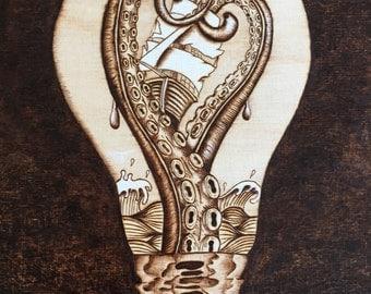 Octopus Art - Light bulb art - Wood Burning - Nautical - Rustic Decor - Wood Sign - Pyrography -  Hout branden - Home Decor - TimberleeEU