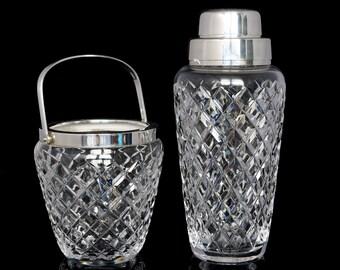 Vintage Cocktail Shaker & Ice Bucket Set, Crystal Cut Glass Martini Shaker, Ice Holder / Mid Century Barware, Bar Tools, Bar Cart