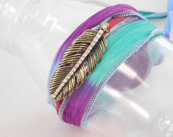 Feather Wrap Bracelet - Antique Gold Rhinestone Bracelet - Silk Wrap Bracelet - Colorful