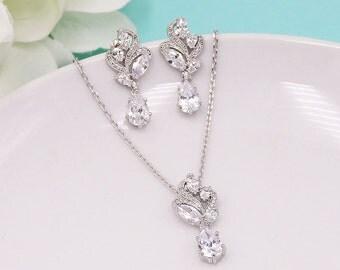 Wedding Jewelry Set, pear cubic zirconia CZ jewelry, silver crystal wedding necklace set, bridesmaid jewelry, Bailey Jewelry Set