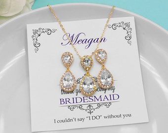 Bridesmaid Gold Jewelry Set, Personalized Jewelry Set, Bridal party jewelry, yellow gold, cz jewelry set, bridesmaid jewelry set 512387321