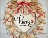 Baseball Wreath with burlap bow - Made with REAL balls!!! Home Base Sign -Softball-Home plate- Ballfield- MLB - Baseball-Front Door Wreath