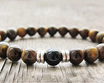 Gifts for men Gift for husband Mens gift Mens Bracelet for men Tiger eye bracelet Beaded Bracelet Balance Bracelet Natural stone bracelet