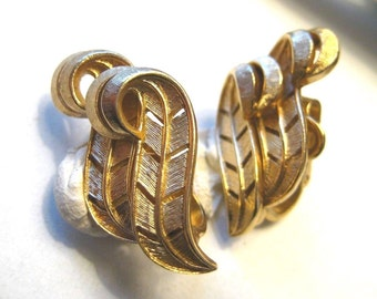Classic Vintage Earrings by Trifari in Brushed Gold Tone Clip Ons