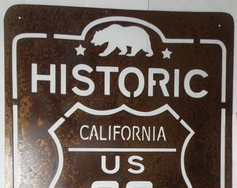 Historic Route California US 66 - Route 66 - The Mother Road - Metal Sign  R1