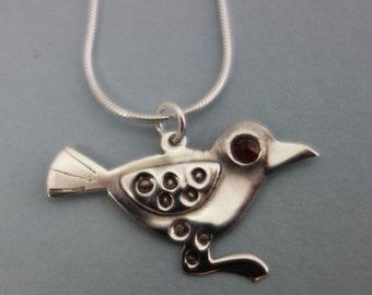 raven necklace, silver raven necklace, saxon raven necklace, bird necklace, silver and garnet pendant