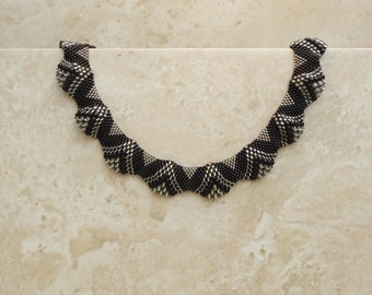 Black and Silver Lined Pewter Bumpy Peyote Necklace