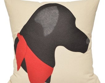 "21"" Black Labrador Pillow, Black Lab, dog pillow, dog, Decorative Pillow,  labrador retriever, The Salty Cottage"