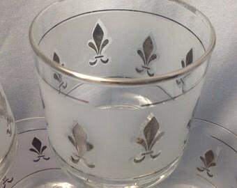 Midcentury fleur de lis barware glasses, vintage frosted Fleur de lis glasses, silver rim rocks frosted glasses, silver fleur de lis