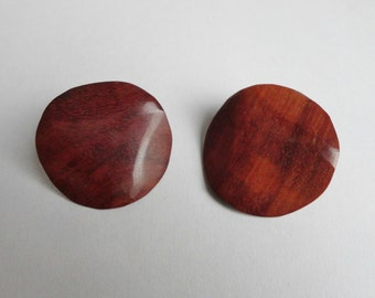 Brown Wood 80s Vintage Ear Clip On