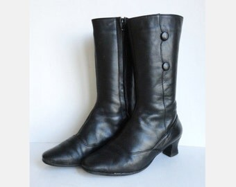 Black 50s/60 Vintage Leather Boots // Zeiba Greyhound // Buttons On Sides // Lined // Size 39