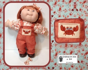 """Handcrafted Cabbage Patch Kid DOLL CLOTHES Only to fit 13""""/Toddler or 14"""" Girl --""""CRAB"""" Overall Outfit"""