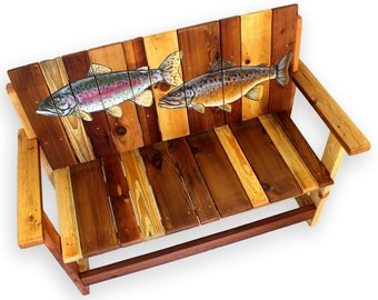 cabin furniture fish bench reclaimed wood bench rustic