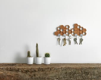 Honeycomb Magnetic Key Holder - A Unique Bamboo Wall Mounted And Decorative Wooden Storage Rack