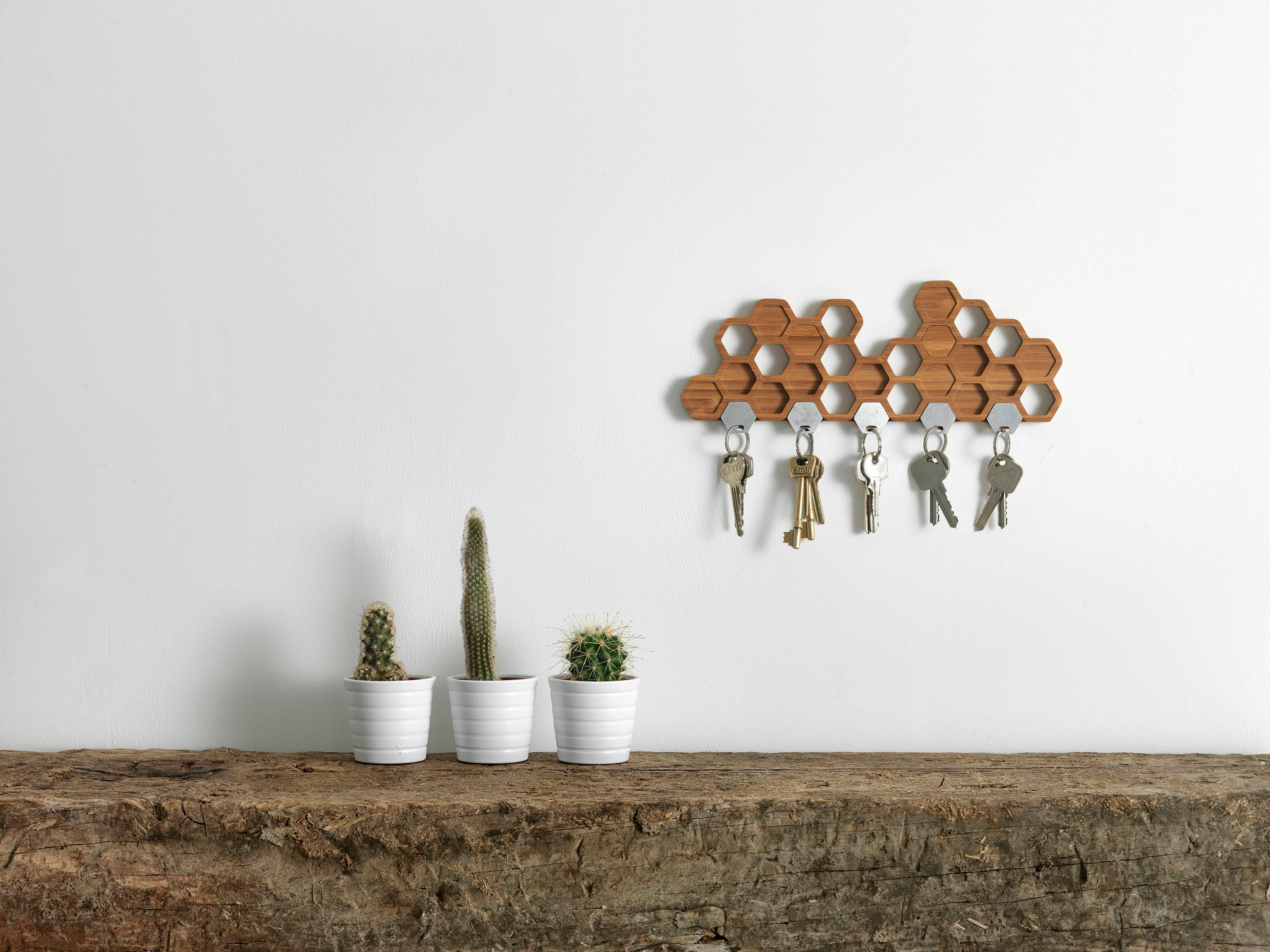 Honeycomb Magnetic Key Holder A Unique Bamboo Wall Mounted