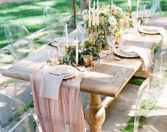Farm Table Flowy Chiffon Table Runner  We do CUSTOM Sizes! Rustic Decor, Vintage Decor, Romantic Wedding Decor Table Runner