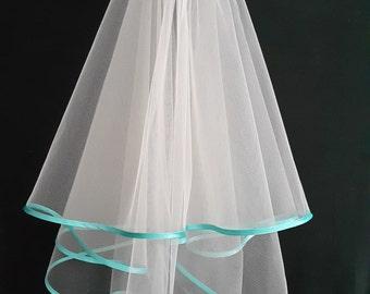White Wedding Veil, Two Layers, Turquoise Satin Edging.