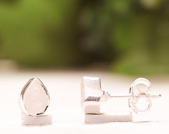 92.5 Solid Sterling Silver Natural Sparkling Rainbow Moonstone 5x7 mm Pear Cut Studs Earrings