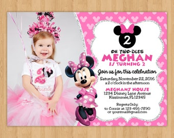 Minnie Mouse Inspired Birthday Invitation with Photo