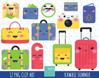 80% SALE kawaii TRAVEL clipart, luggage clipart, travel clipart, kawaii clipart, commercial use, cute graphics, planner accesories, scrap