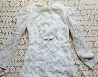 genevieve dress/white 60's dress/vintage romantic dress/boho white dress/wedding dress/embroidered dress/bridal/gold dress/mod dress/xs