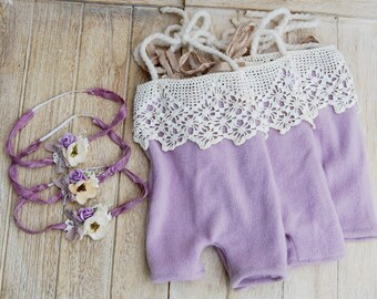 PREMIE Dreamy Soft Lavender Shorties Rompers with Headband