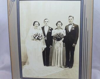 Antique Art Deco Matted Wedding Photograph Gelatin Silver Print 1930's ~ 1940's