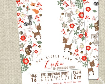 Woodlands Invitation / Woodland Party Theme / Woodlands Birthday , Baby Shower / Deer Party / Printable Invitation by Mint Imprint
