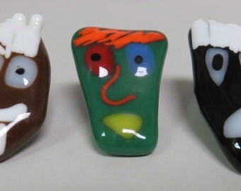 fused glass face pins