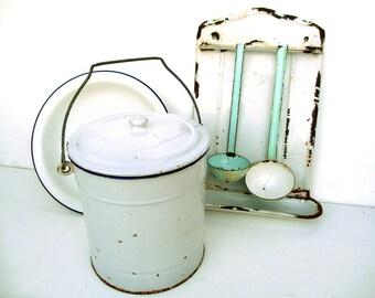 French Vintage Enamel Set, Enamel Utensil Rack, Enamel Crock, Enamel Bowl, French Kitchen, French Enamelware, Enamel Kitchen Storage