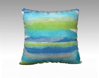 Aqua stripe pillow
