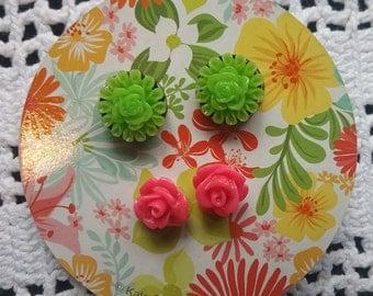 Girls Pierced Earrings, Small Stud Earrings, Mini Flower Earrings, Green and Pink Earrings, Surgical Steel Post Earrings, Gift for Girls