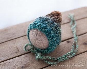 Subtle Stripe Seed Stitch Newborn Bonnet, Pixie Newborn Bonnet, Knit Baby Hat, Newborn Hat, Alpaca Bonnet, Baby Bonnet