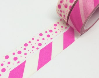 Set of 2 Neon Pink Stripes Dots Tape 15mm x 10m