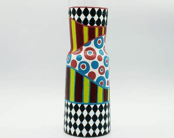 Whimsical Hand Painted Carafe Decanter Pitcher Alice in Wonderland Checker Polka Dot