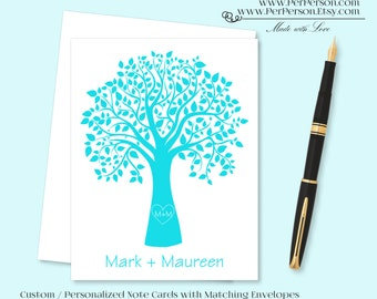 Free Ship!  Set of 12 Personalized / Custom Notecards, Boxed, Blank Inside, Tree, Carved Initials, Monogram, Name, Initials