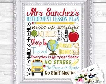 "Personalized / Custom Gift Retirement Teacher, Principal, Administrator, Aide, Tutor, Subway Style Wall Art Sign 8x10"" Any Name"