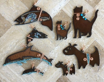Rustic Metal, Copper Wrapped, Turquoise Embellished Ornaments and Magnets