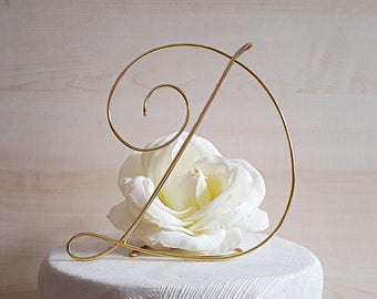 Initial initial cake topper, letter cake topper, monogram wedding topper, baptism, first communion, birthday, wire cake topper