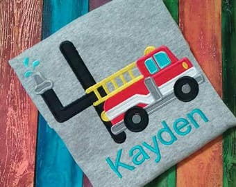 Firetruck birthday shirt, Appliqued, monogrammed with child's name and age.  100% cotton T-shirt
