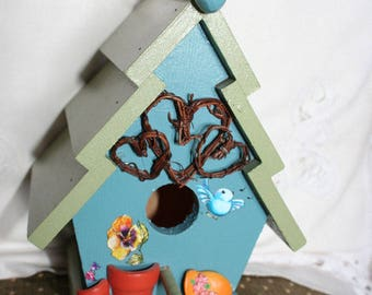 Bird House, Garden Theme, Handmade, Blue and Green, decorative indoor our outdoor use.