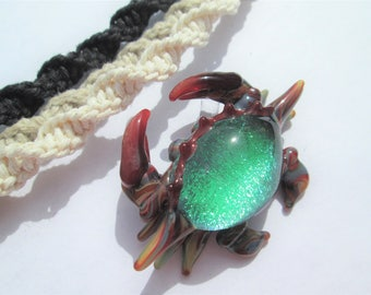 Crab- Awesome Dichroic Glass Crab Pendant on Handmade Hemp Necklace in Your Choice of Color- Multicolor Dichroic Glass Crab Pendant Necklace