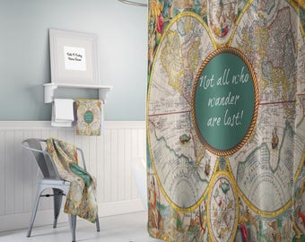 Map shower curtain etsy world map shower curtain historical colorful vintage map not all who wander are lost bathroom sciox Gallery