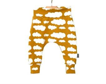 Baby Harem Pants - Toddler Harem Leggings - MUSTARD YELLOW Clouds - Organic Baby Clothes - Spring baby clothes - toddler boy clothes -