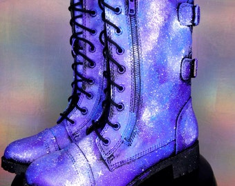 Galaxy Shoes Nebula Space Boots Women's Shoes Galaxy Print Combat Boots  ««« 00POE