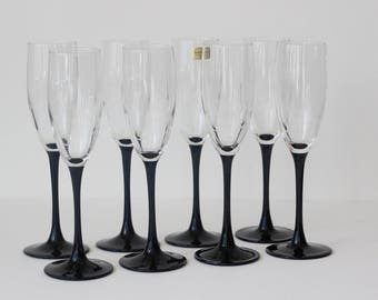 Vintage Luminarc France Fluted Champagne Glasses Black Stem Set of 8