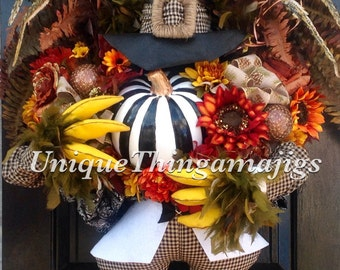 Only 2 More Available for 2017....Thanksgiving Turkey Wreath, Fall Wreath. Pre Order for 2017