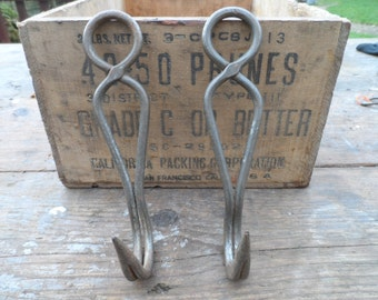 All Original Old French Butchers Hooks Known in France as Dent De Loup or Wolfs Teeth original items Making for hangers #1