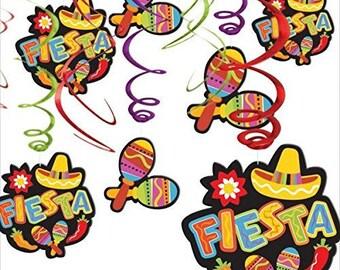 "12 Pc Colorful Cinco de Mayo Maracas And ""Fiesta"" Hanging Swirl Decoration Kit - Candy Buffet Backdrop & More!  Beautiful Fun Party Decor"